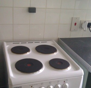 Stove Alarm in position on wall above cooker hotplates